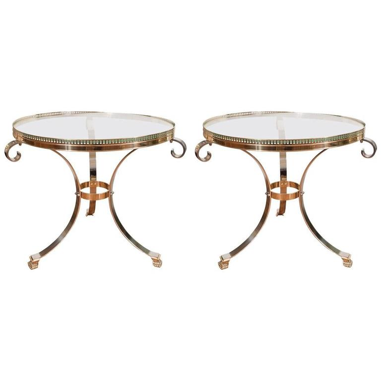 Pair of Polished Nickel and Brass Tripod Tables 1