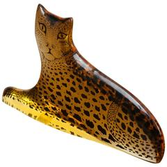 1970s Midcentury Brazilian Abraham Palatnik Kinetic Lucite Leopard Figurine