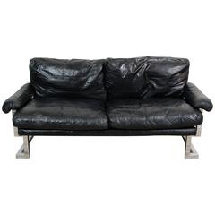 1970s Pieff Midcentury Mandarin Sofa in Chrome and Black Leather by Ted Bates