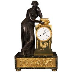 Mantel Clock Bronze Empire Period Representing the Figure of Study, circa 1815