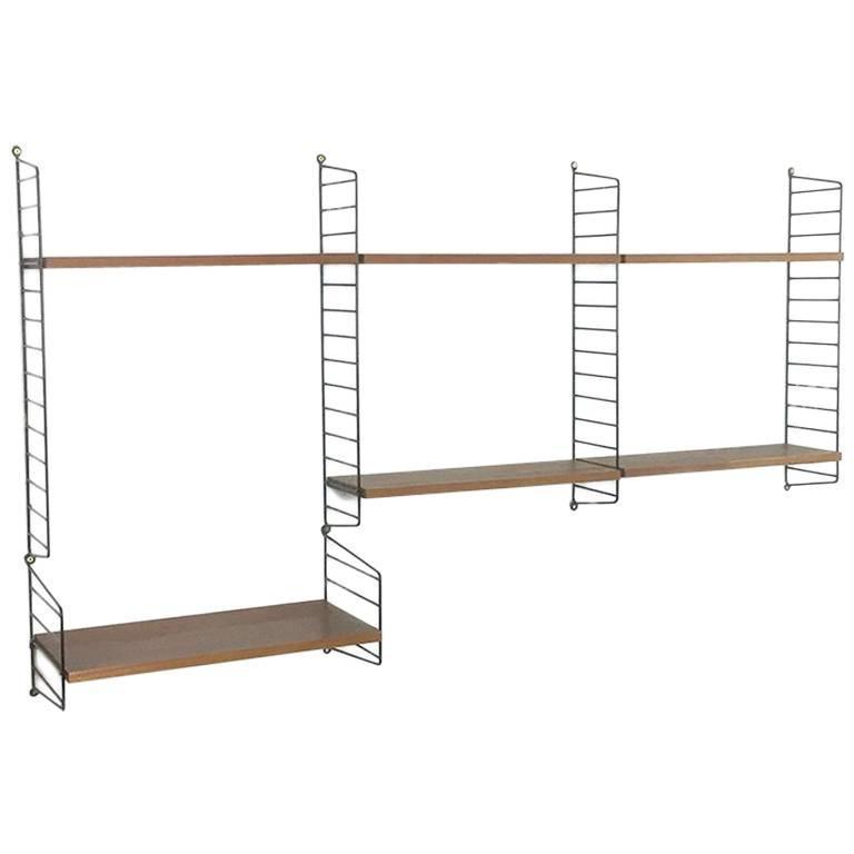 Original Teak Wood 1960s Modular String Wall Unit by Nisse Strinning, Sweden