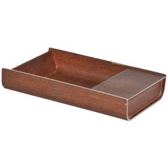 Mid-Century Modern Peter Pepper Products Desk Accessory Walnut Aluminum SM Tray