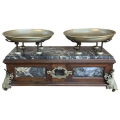 19th Century Italian Pharmacy Scales in Walnut on Marble Base with Brass Mounts