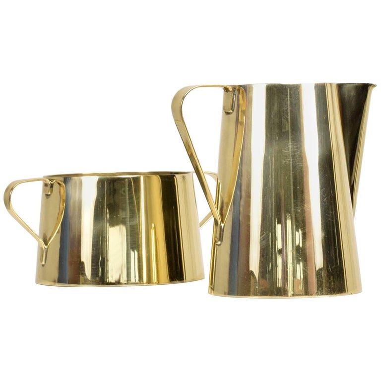 1960s Creamer and Sugar Bowl by Tommi Parzinger for Dorlyn Brass, Midcentury