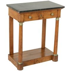 Empire Period Burled Walnut Console Table with Black Marble Top Bronze Detailing