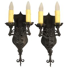 Pair of Double Spanish Revival Sconces