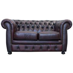 Red Leather Chesterfield Three-Seat Sofa by Möbel Art