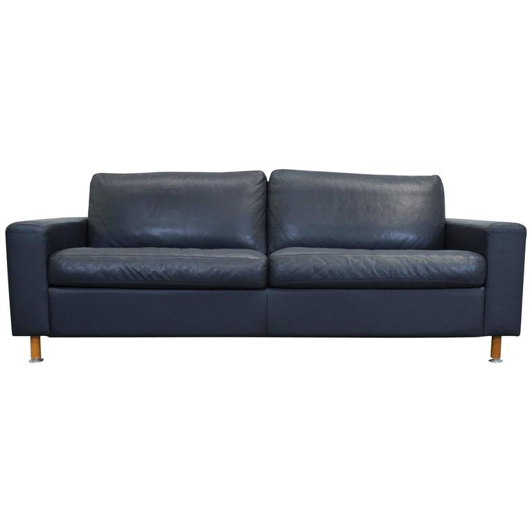 machalke leather three seat sofa in dark blue at 1stdibs. Black Bedroom Furniture Sets. Home Design Ideas