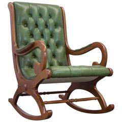 Vintage Chesterfield Rocking Chair in Green Leather