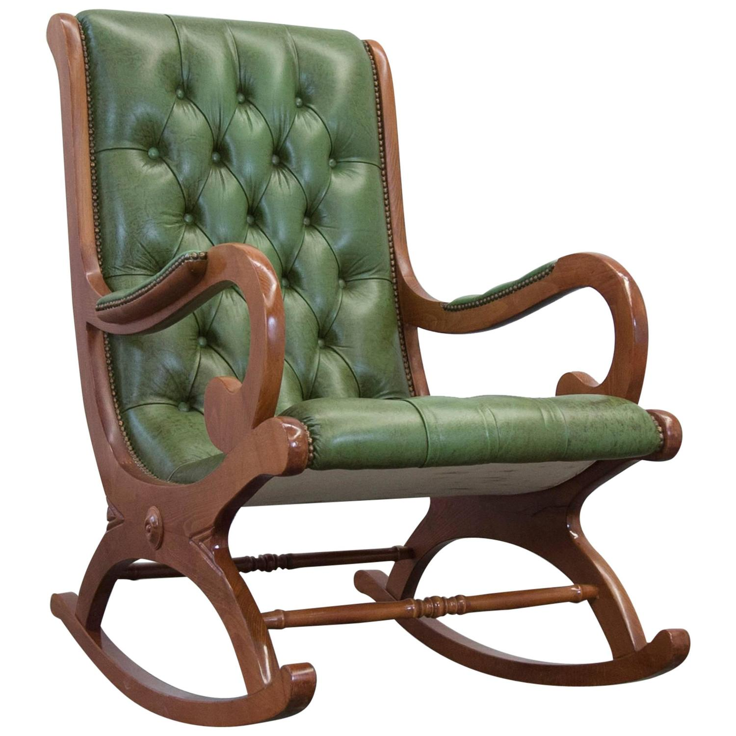 Antique rocking chairs - Vintage Chesterfield Rocking Chair In Green Leather