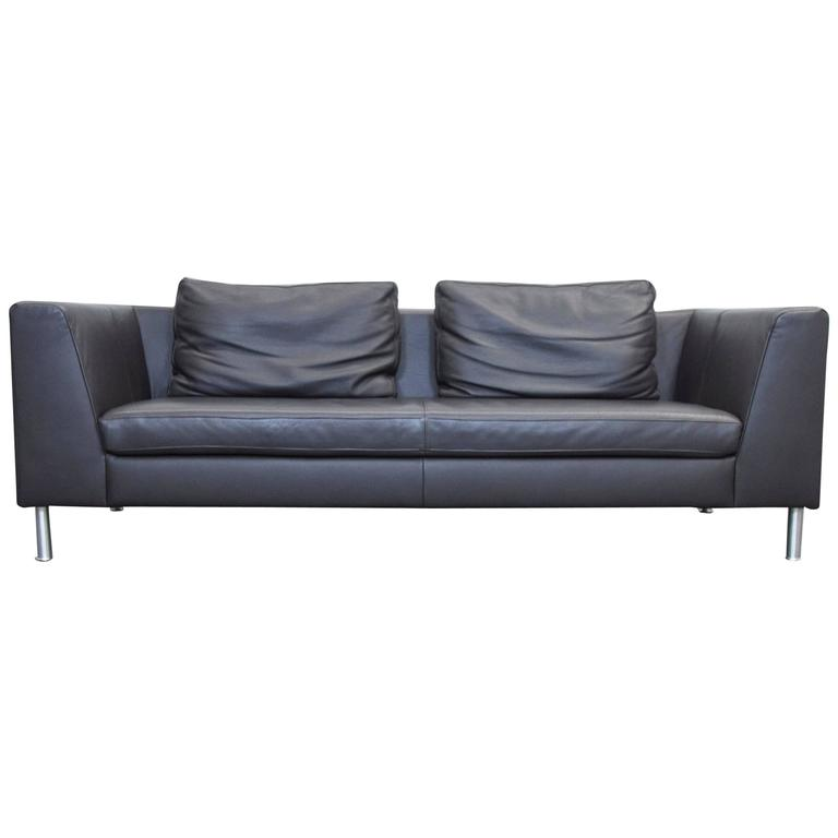ewald schillig back three seat leather sofa for sale at 1stdibs. Black Bedroom Furniture Sets. Home Design Ideas