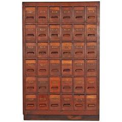 Massive Oak 36-Drawer Apothecary Cabinet, circa 1930s