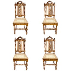 19th Century, French Oak Hand Carved Dining Chairs