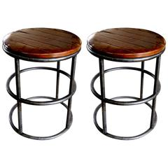 Two Vintage Tubular Metal Stools with Wooden Seats