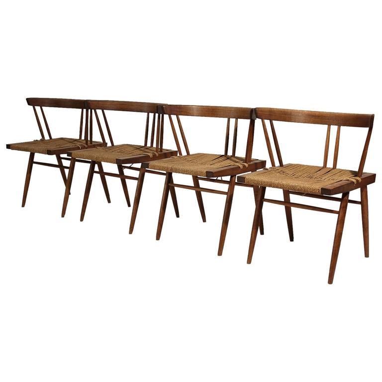 George Nakashima Grass Seat Walnut Chairs, circa 1950 1
