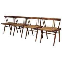 George Nakashima Grass Seat Walnut Chairs, circa 1950