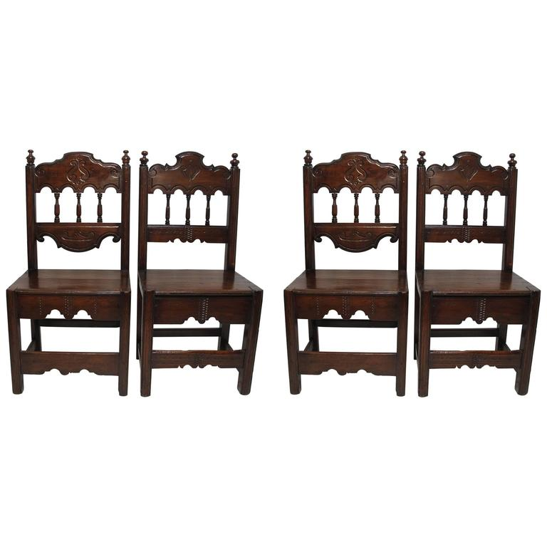 Four 18th Century Spanish Colonial Chairs