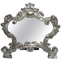 18th Century Italian Silver Tabletop Mirror Frame