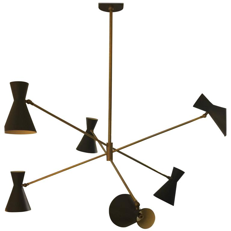 Custom Six-Arm Brass Fixture in the Stilnovo Manner