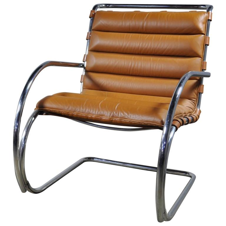 Brown Leather Mies Van Der Rohe MR Lounge Chair by Knoll
