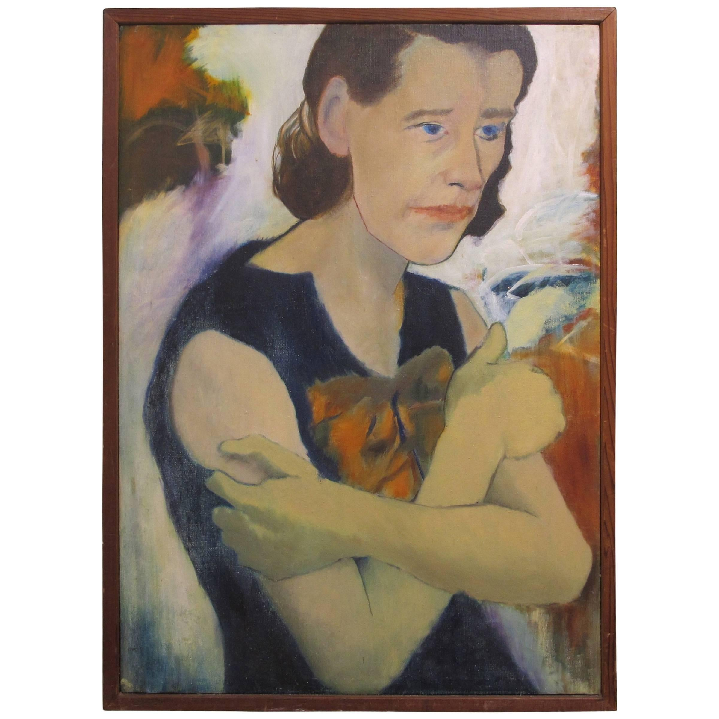 Mid-Century Modernist Portrait Painting of a Woman