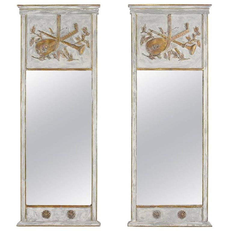 Pair of French Louis XVI-Style Trumeau Mirrors