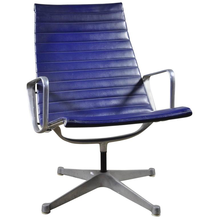 Blue Leather Eames Aluminum Group Lounge Chair by Herman Miller