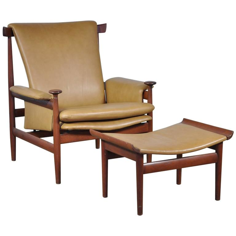 Finn Juhl Bwana Chair with Ottoman for France and Sons in Teak and Leather