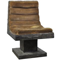 Paul Evans Bronze Resin over Wood, Lounge Chair for Paul Evans Studio, 1969