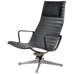 Black Leather Eames Aluminum Group Lounge Chair