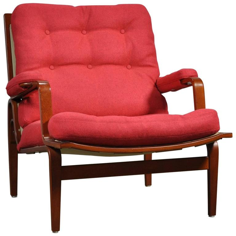 Red Bruno Mathsson Ingrid Chair in Woollen Felt Fabric Made by DUX For Sale