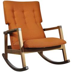 Walnut with Wool Fabric Jens Risom Rocker Chair for DWR