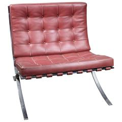 Red Leather Barcelona by Mies van der Rohe for Knoll