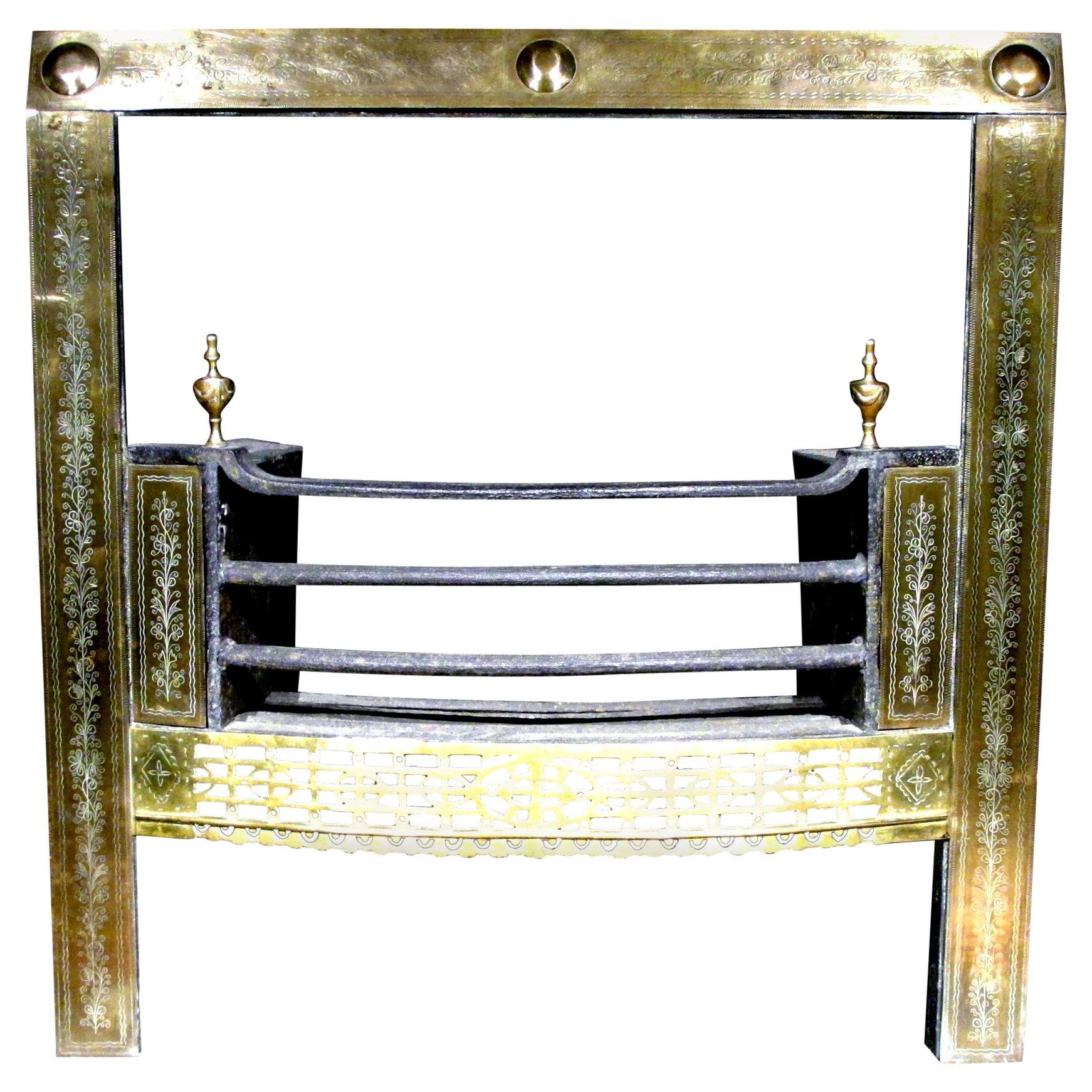 Exceptionally Fine Irish Georgian Fireplace Brass Register Grate, Circa 1780
