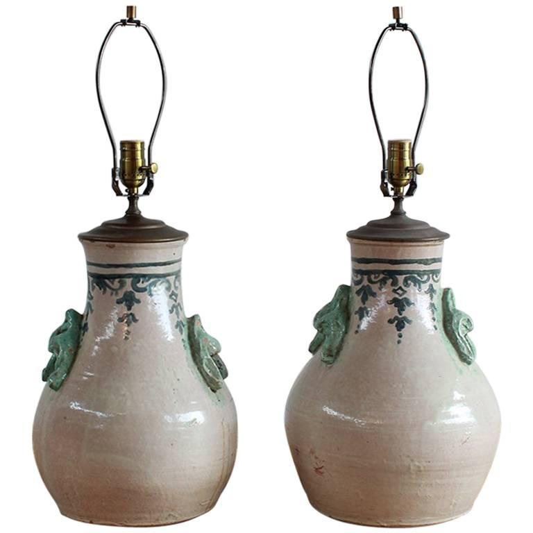 Pair of Ceramic Lamps with Celadon Glazed Embellishments and Blue Details For Sale