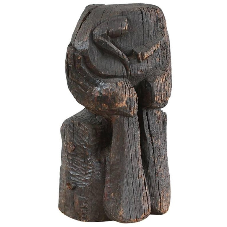 Sogi Style Charred Figural Wooden Sculpture 1