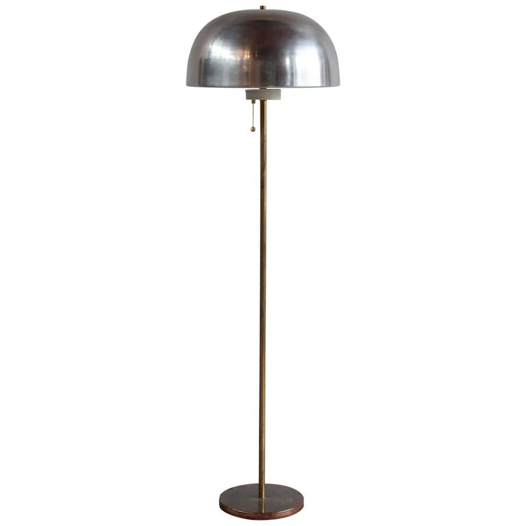 Modern Brass and Chrome Domed Floor Lamp For Sale