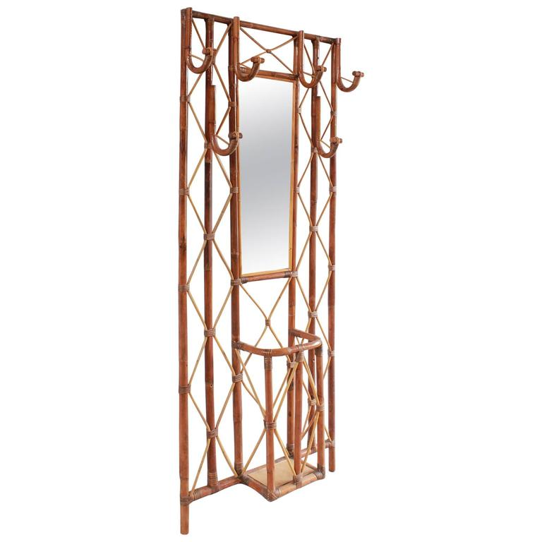 French Bamboo Tree Coat Rack with Built in Mirror and Umbrella Stand For Sale