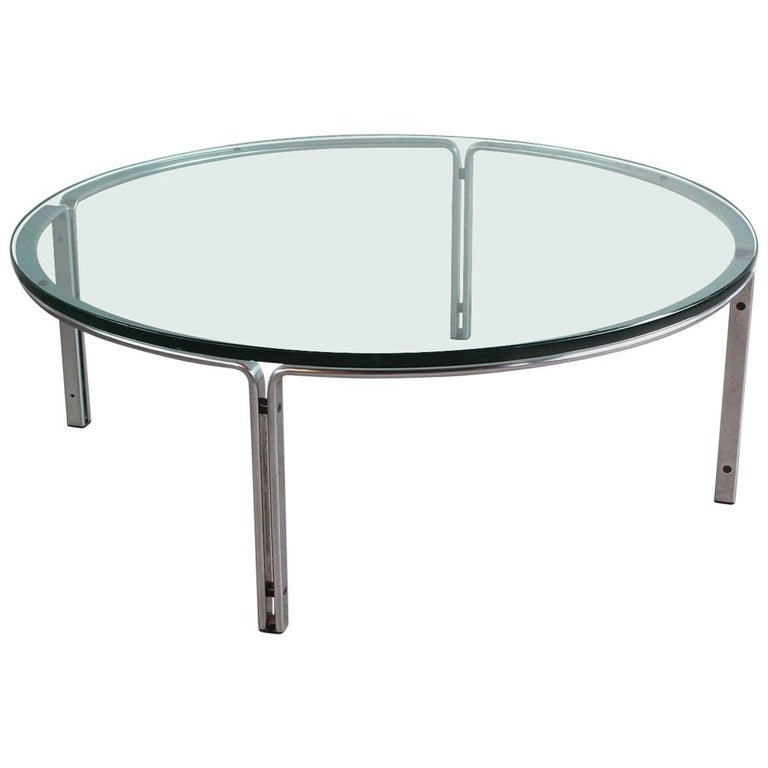 Round Metal And Steel Coffee Table With Glass Top For Sale