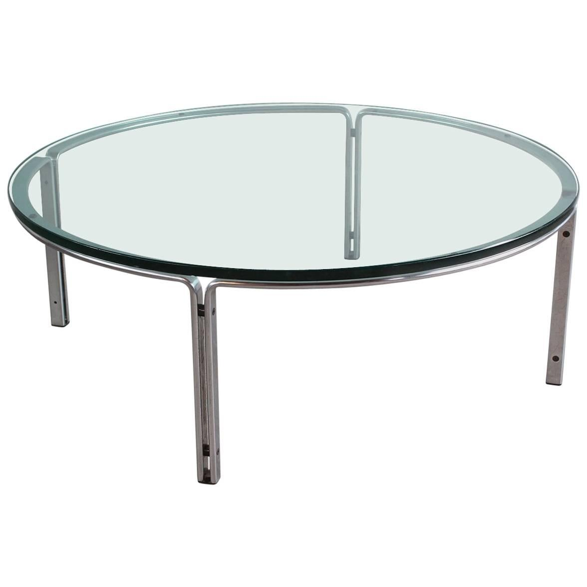 Round Metal And Steel Coffee Table With Glass Top