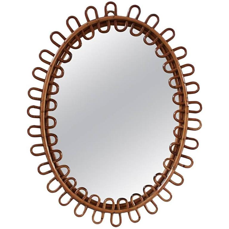 Small Curled Wicker French Oval Mirror 1