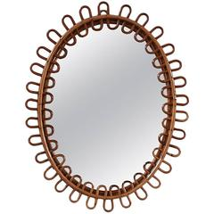 Small Curled Wicker French Oval Mirror