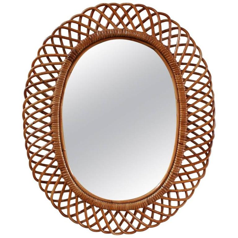 Oval Intricate French Wicker Mirror 1