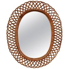 Oval Intricate French Wicker Mirror