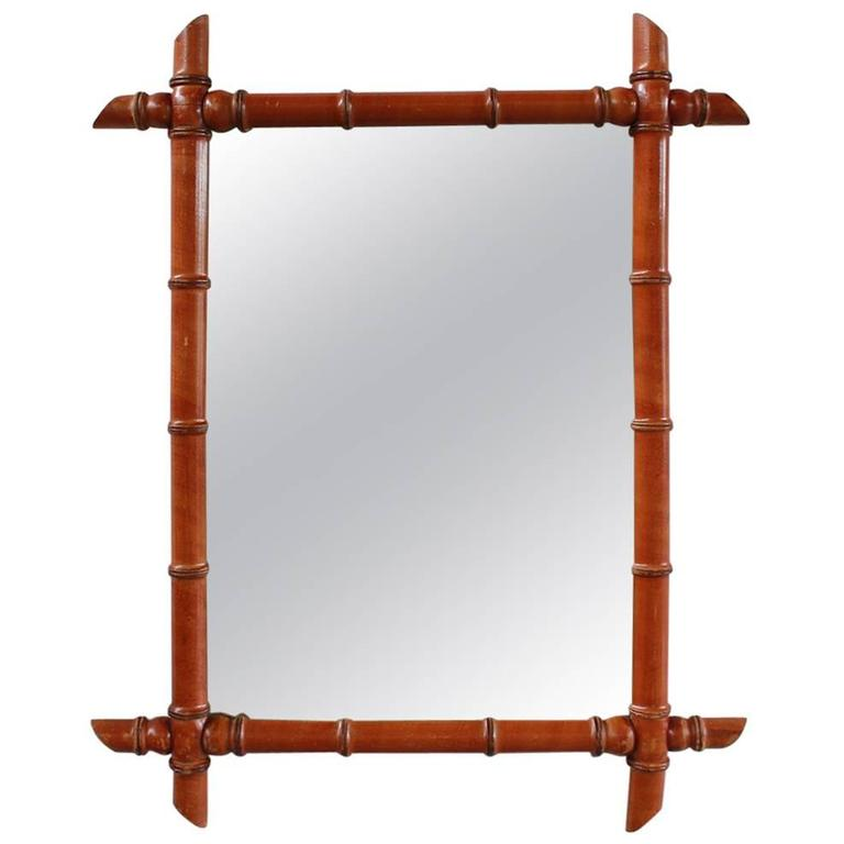 Rectangular French Bamboo Mirror 1