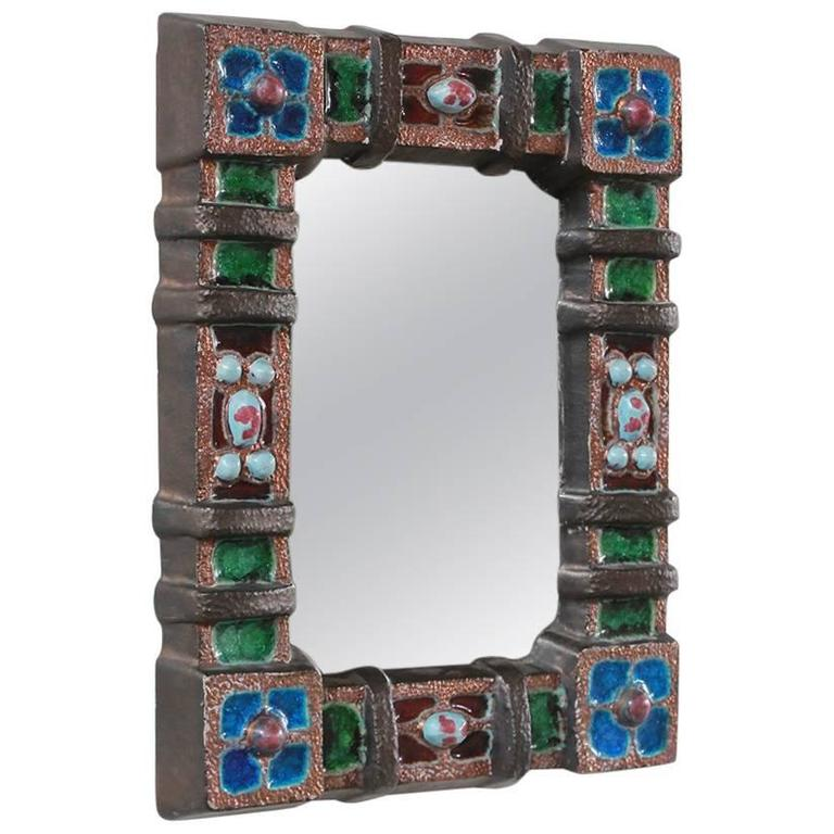 Petite Colorful Ceramic Tile French Mirror 1