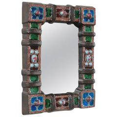 Petite Colorful Ceramic Tile French Mirror