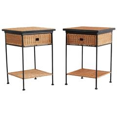 Pair of Iron and Wicker Side Tables