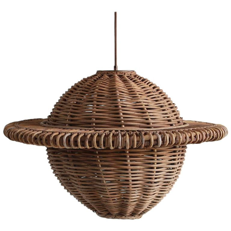 Rustic Natural Wicker Round Pendant
