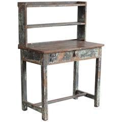 Rustic Painted Work Table with Upper Shelves and Hidden Compartment